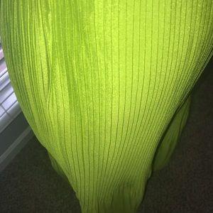Lime green satin skirt